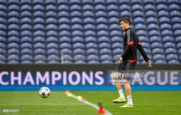 Robert Lewandowski in action during a FC Bayern Muenchen Training Session ahead of the UEFA Champions League QuarterFinal First Leg match between...