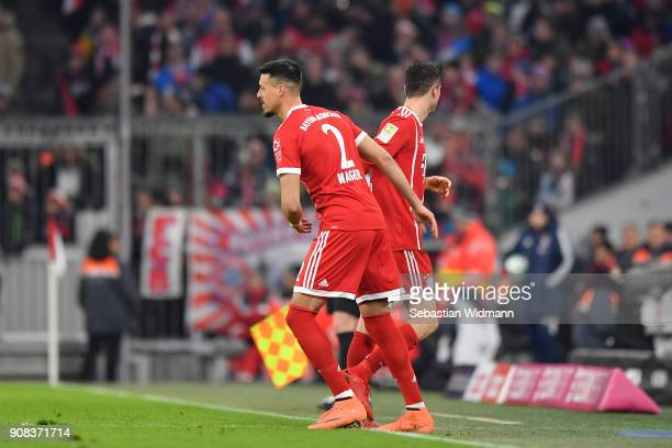 Robert Lewandowski is being substituted by Sandro Wagner of Bayern Muenchen during the Bundesliga match between FC Bayern Muenchen and SV Werder...