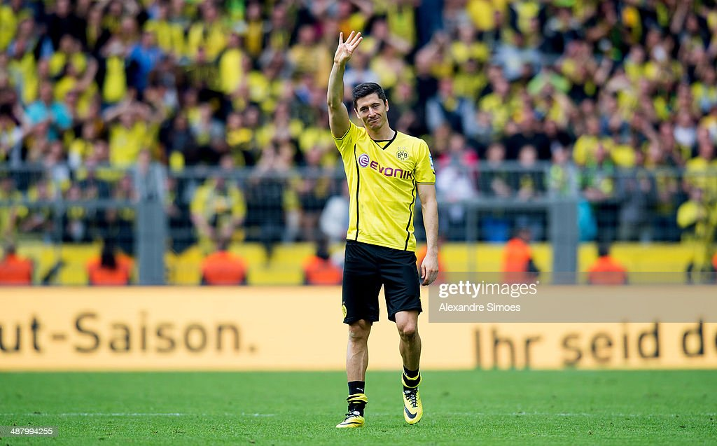 Robert Lewandowski is saying goodbye to the fans at his last home match for Borussia Dortmund after the Bundesliga match between Borussia Dortmund and 1899 Hoffenheim at Signal Iduna Park on May 3, 2014 in Dortmund, Germany.