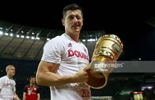 Robert Lewandowski is seen after winning during the DFB Cup Final 2016 between Bayern Muenchen and Borussia Dortmund at Olympiastadion on May 21 2016...