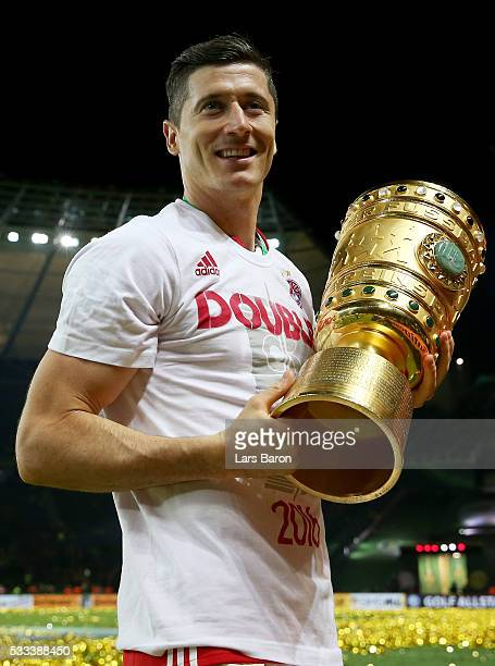 Robert Lewandowski is seen after winning the DFB Cup Final 2016 between Bayern Muenchen and Borussia Dortmund at Olympiastadion on May 21 2016 in...