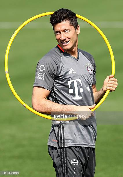 Robert Lewandowski is seen during a training session at day 3 of the Bayern Muenchen training camp at Aspire Academy on January 5 2017 in Doha Qatar