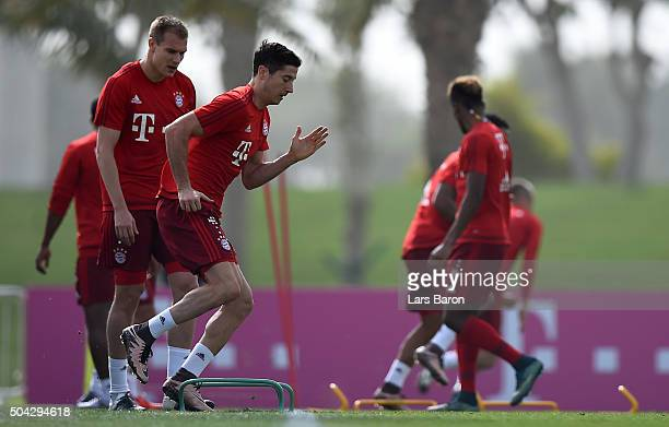 Robert Lewandowski is seen during a training session at day five of the Bayern Muenchen training camp at Aspire Academy on January 10 2016 in Doha...