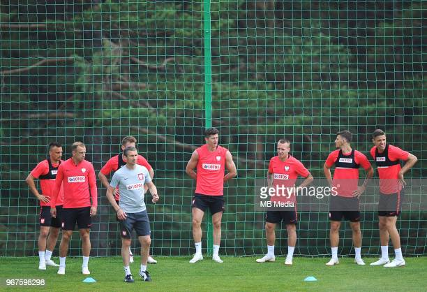 Robert Lewandowski Jacek Goralski and Kamil Grosicki of Poland during a training session of the Polish national team at Arlamow Hotel during the...