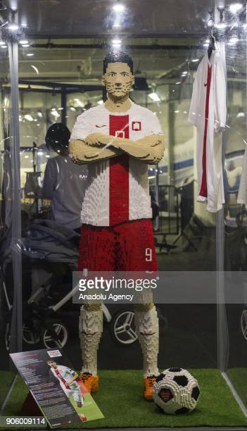 Robert Lewandowski made of Lego bricks is displayed during a lego exhibition at Wroclaw Stadium in Wroclaw Poland on January 17 2018 The Lego...