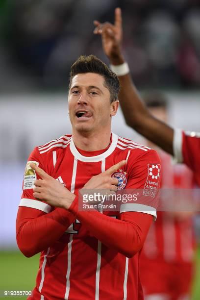 Robert Lewandowski of Bayern Muenchen celebrates after he scored a goal to make it 12 during the Bundesliga match between VfL Wolfsburg and FC Bayern...