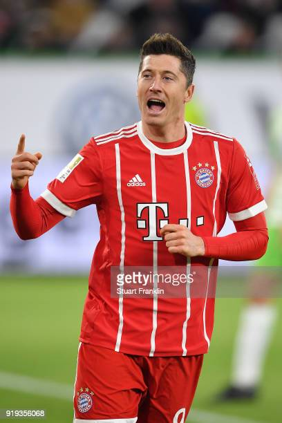 Robert Lewandowski of Bayern Muenchen celebrates after he scored a goal to make it 12 during the Bundesliga match between VfL Wolfsburg and FC Bayern...