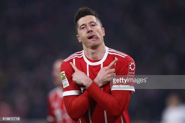 Robert Lewandowski of Bayern Muenchen celebrates after he scored to make it 10 during the Bundesliga match between FC Bayern Muenchen and FC Schalke...