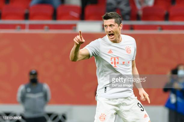 Robert Lewandowski of Bayern Muenchen celebrates after scoring his team's first goal during the semi-final match between Al Ahly SC and FC Bayern...
