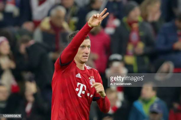 Robert Lewandowski of Bayern Muenchen celebrates scoring the 2nd team goal during the Group E match of the UEFA Champions League between FC Bayern...