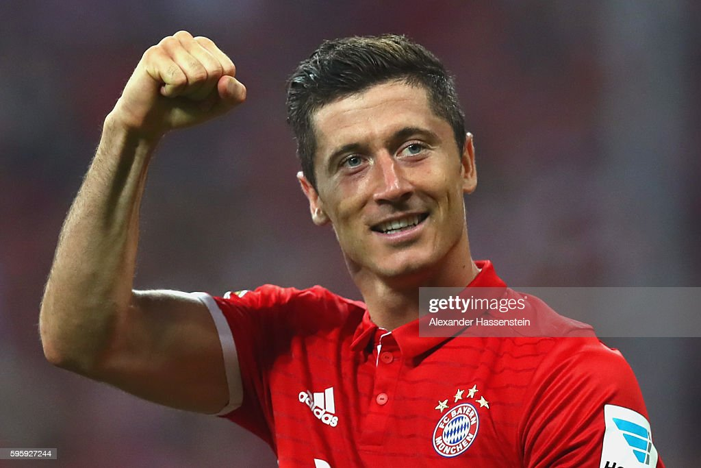 Robert Lewandowski of Bayern Muenchen celebrates scoring the 3rd team goal during the Bundesliga match between Bayern Muenchen and Werder Bremen at Allianz Arena on August 26, 2016 in Munich, Germany.