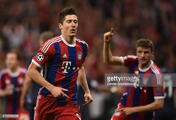 Robert Lewandowski of Bayern Muenchen celebrates scoring the fifth goal during the UEFA Champions League Quarter Final Second Leg match between FC...
