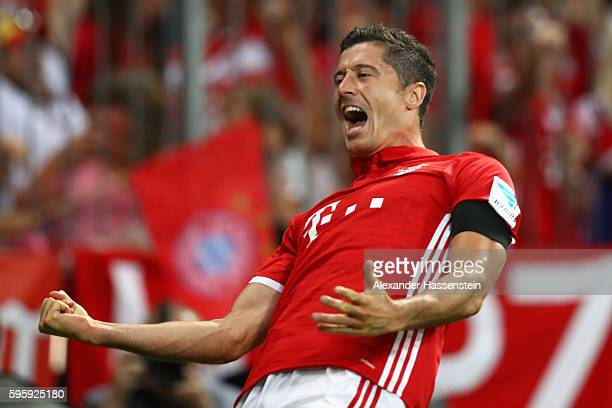 Robert Lewandowski of Bayern Muenchen celebrates scoring the second team goal during the Bundesliga match between Bayern Muenchen and Werder Bremen...