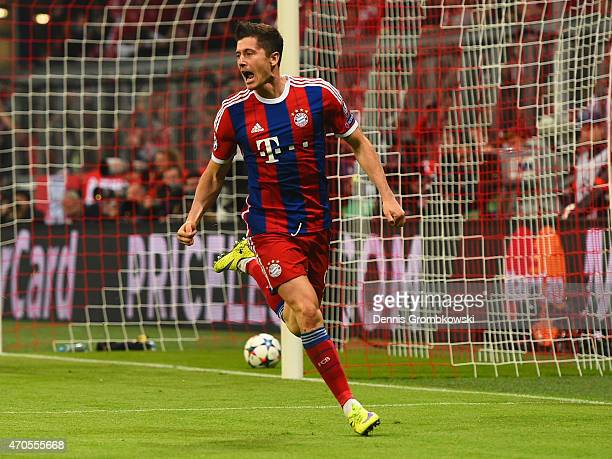 Robert Lewandowski of Bayern Muenchen celebrates scoring their third goal during the UEFA Champions League Quarter Final Second Leg match between FC...