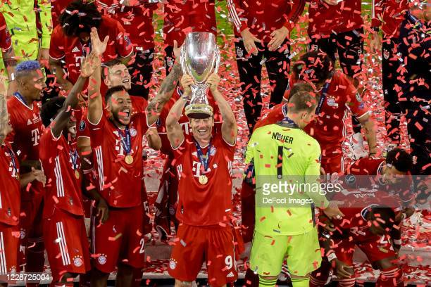 Robert Lewandowski of Bayern Muenchen cheers after winning the Supercup after the UEFA Super Cup match between FC Bayern Munich and FC Sevilla at...