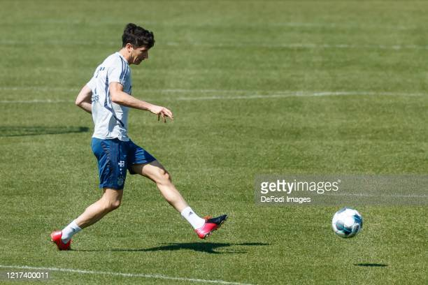 Robert Lewandowski of Bayern Muenchen controls the ball during a training session at Saebener Strasse training ground on April 7 2020 in Munich...
