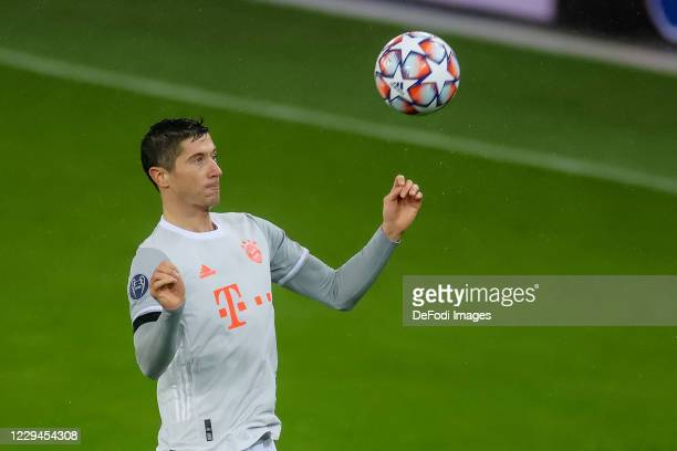 Robert Lewandowski of Bayern Muenchen controls the ball during the UEFA Champions League Group A stage match between RB Salzburg and FC Bayern...