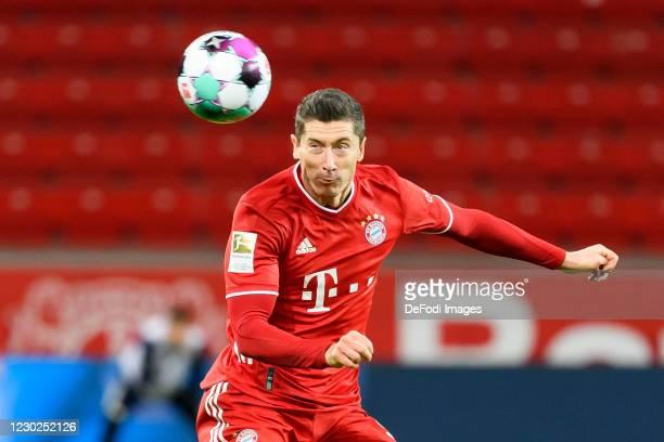Robert Lewandowski of Bayern Muenchen controls the ball during the Bundesliga match between Bayer 04 Leverkusen and FC Bayern Muenchen at BayArena on...
