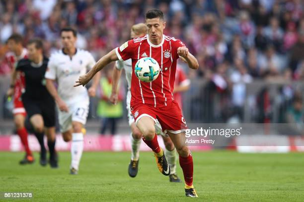 Robert Lewandowski of Bayern Muenchen during the Bundesliga match between FC Bayern Muenchen and SportClub Freiburg at Allianz Arena on October 14...