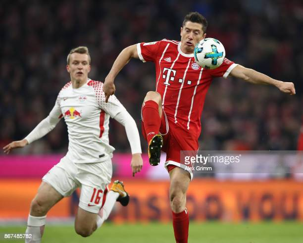 Robert Lewandowski of Bayern Muenchen during the Bundesliga match between FC Bayern Muenchen and RB Leipzig at Allianz Arena on October 28 2017 in...
