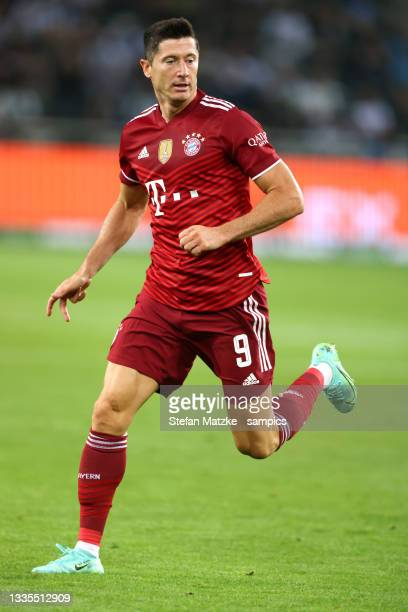 Robert Lewandowski of Bayern Muenchen during the Bundesliga match between Borussia Mönchengladbach and FC Bayern München at Borussia-Park on August...