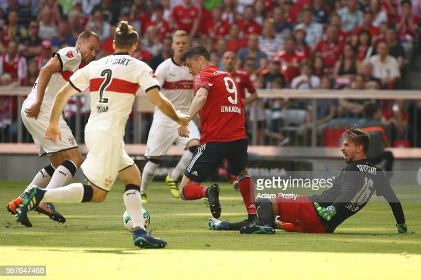 Robert Lewandowski of Bayern Muenchen fights for the ball during the Bundesliga match between FC Bayern Muenchen and VfB Stuttgart at Allianz Arena...