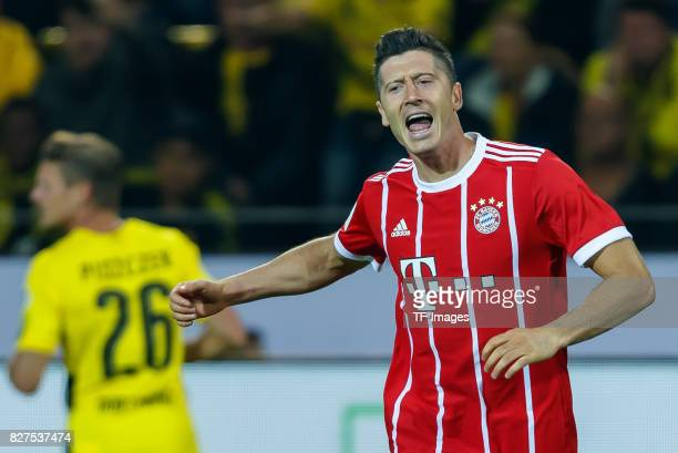 Robert Lewandowski of Bayern Muenchen gestures during the DFL Supercup 2017 match between Borussia Dortmund and Bayern Muenchen at Signal Iduna Park...
