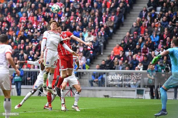 Robert Lewandowski of Bayern Muenchen heads a goal to make it 20 during the Bundesliga match between FC Bayern Muenchen and Hamburger SV at Allianz...
