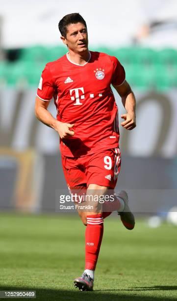 Robert Lewandowski of Bayern Muenchen in action during the Bundesliga match between VfL Wolfsburg and FC Bayern Muenchen at Volkswagen Arena on June...