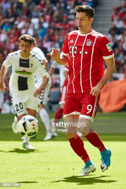 Robert Lewandowski of Bayern Muenchen in action during the Bundesliga match between Bayern Muenchen and SC Freiburg at Allianz Arena on May 20 2017...