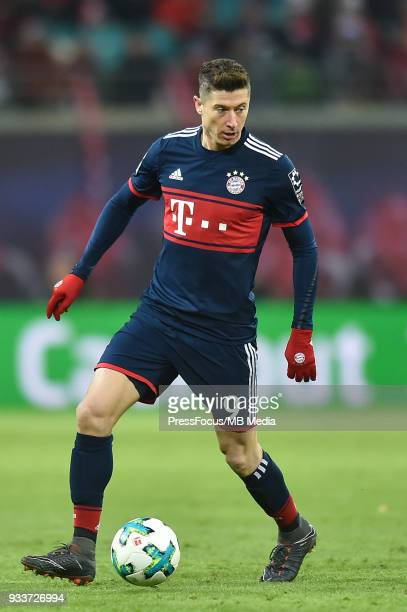 Robert Lewandowski of Bayern Muenchen in action during the Bundesliga match between RB Leipzig and FC Bayern Muenchen at Red Bull Arena on March 18...