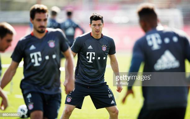 Robert Lewandowski of Bayern Muenchen in action during training at Saebener Strasse training ground on March 30 2017 in Munich Germany