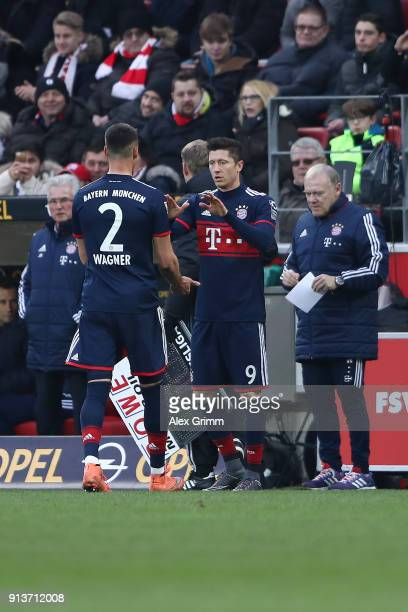 Robert Lewandowski of Bayern Muenchen is being substituted for Sandro Wagner of Muenchen during the Bundesliga match between 1 FSV Mainz 05 and FC...