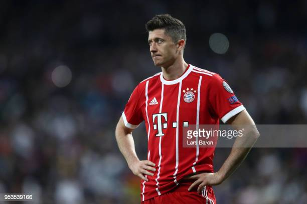 Robert Lewandowski of Bayern Muenchen looks dejected as they fail to reach the final after the UEFA Champions League Semi Final Second Leg match...