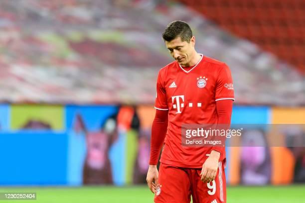 Robert Lewandowski of Bayern Muenchen looks dejected during the Bundesliga match between Bayer 04 Leverkusen and FC Bayern Muenchen at BayArena on...