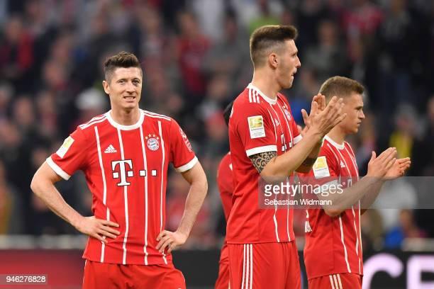 Robert Lewandowski of Bayern Muenchen looks on after the Bundesliga match between FC Bayern Muenchen and Borussia Moenchengladbach at Allianz Arena...