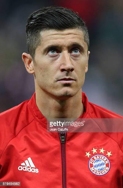 Robert Lewandowski of Bayern Muenchen looks on before the UEFA Champions League quarter final first leg match between FC Bayern Muenchen and SL...