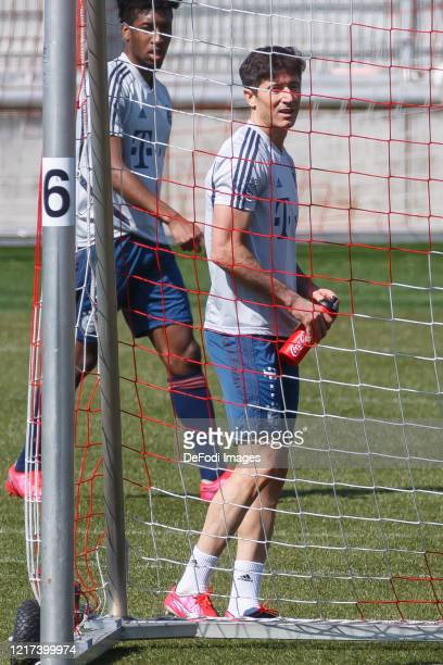 Robert Lewandowski of Bayern Muenchen looks on during a training session at Saebener Strasse training ground on April 7 2020 in Munich Germany