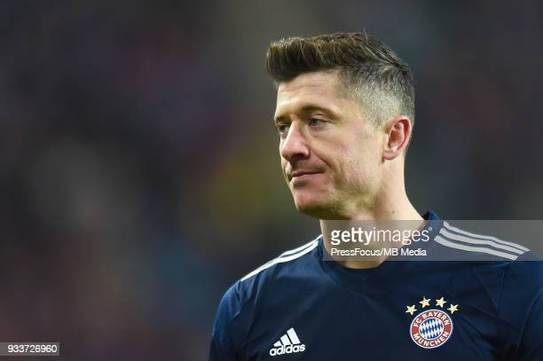 Robert Lewandowski of Bayern Muenchen looks on during the Bundesliga match between RB Leipzig and FC Bayern Muenchen at Red Bull Arena on March 18...
