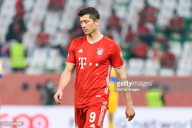 Robert Lewandowski of Bayern Muenchen looks on during the finale FIFA Club World Cup Qatar 2020 match between FC Bayern Muenchen and Tigres UANL on...