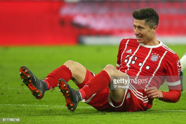 Robert Lewandowski of Bayern Muenchen on the ground during the Bundesliga match between FC Bayern Muenchen and FC Schalke 04 at Allianz Arena on...