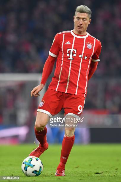 Robert Lewandowski of Bayern Muenchen plays the ball during the Bundesliga match between FC Bayern Muenchen and Hannover 96 at Allianz Arena on...