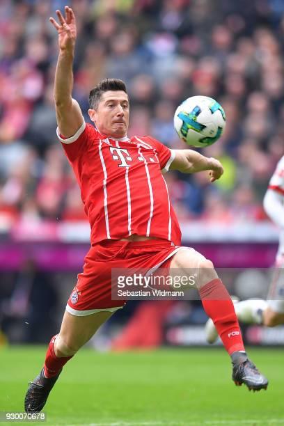 Robert Lewandowski of Bayern Muenchen plays the ball during the Bundesliga match between FC Bayern Muenchen and Hamburger SV at Allianz Arena on...