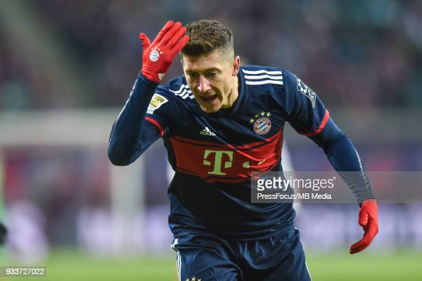 Robert Lewandowski of Bayern Muenchen reacts during the Bundesliga match between RB Leipzig and FC Bayern Muenchen at Red Bull Arena on March 18 2018...