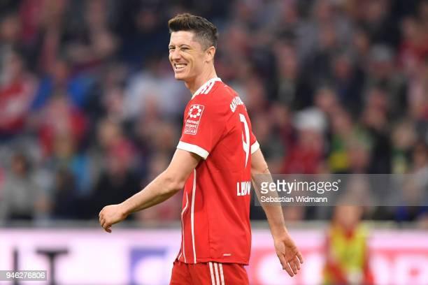 Robert Lewandowski of Bayern Muenchen reacts during the Bundesliga match between FC Bayern Muenchen and Borussia Moenchengladbach at Allianz Arena on...