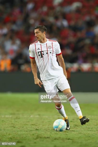 Robert Lewandowski of Bayern Muenchen runs with the ball during the International Champions Cup 2017 match between Bayern Muenchen and Inter Milan at...