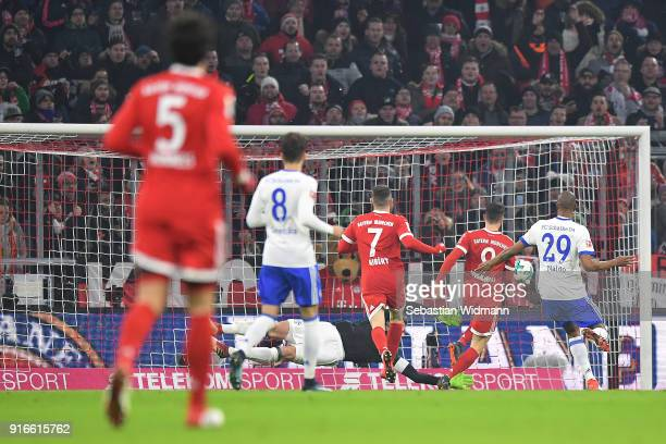 Robert Lewandowski of Bayern Muenchen scores a goal to make it 10 during the Bundesliga match between FC Bayern Muenchen and FC Schalke 04 at Allianz...