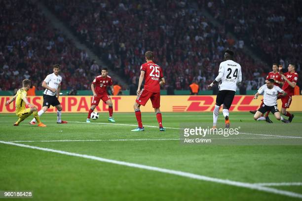 Robert Lewandowski of Bayern Muenchen scores a goal to make it 11 during the DFB Cup final between Bayern Muenchen and Eintracht Frankfurt at...
