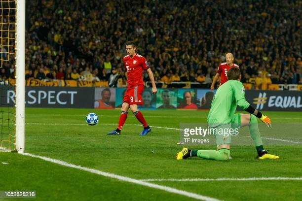 Robert Lewandowski of Bayern Muenchen scores the team`s second goal during the UEFA Champions League Group E match between AEK Athens and FC Bayern...