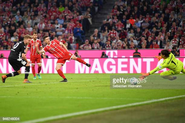 Robert Lewandowski of Bayern Muenchen shoes a goal to make it 51 during the Bundesliga match between FC Bayern Muenchen and Borussia Moenchengladbach...